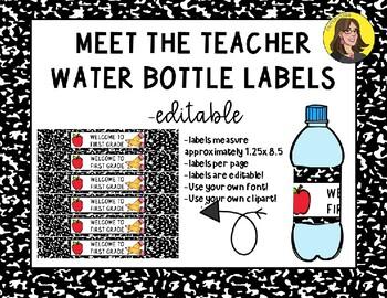 MEET THE TEACHER WATER BOTTLE LABELS