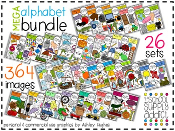 MEGA Alphabet Clipart Bundle A-M {A Hughes Design}