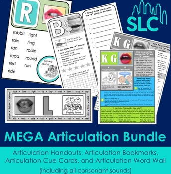 MEGA Articulation Bundle: Handouts, Cue Cards, Bookmarks, and Word Wall