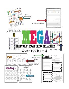 Comparisons, Time, GameBoard, Clip art, Creative Writing MEGA BUNDLE!!!