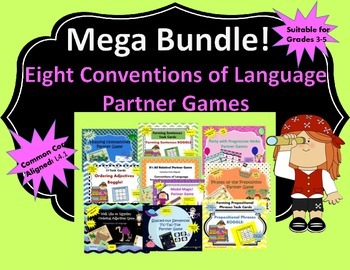 MEGA BUNDLE! 8 Conventions of Language Partner Games (Common Core Aligned L4.1)