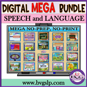 Teletherapy MEGA BUNDLE Language Speech Literacy w/ BOOM CARDS Distance Learning