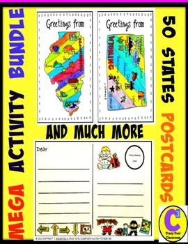 MEGA BUNDLE 50 STATE AND CAPITALS ACTIVITIES - WITH POSTCARDS