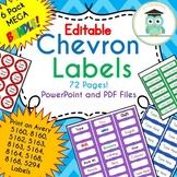 BUNDLE Chevron Labels Editable Classroom Notebook Folder Name Tags (RAINBOW)