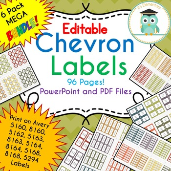 BUNDLE Chevron Labels Editable Classroom Notebook Folder Name Tags (FALL)