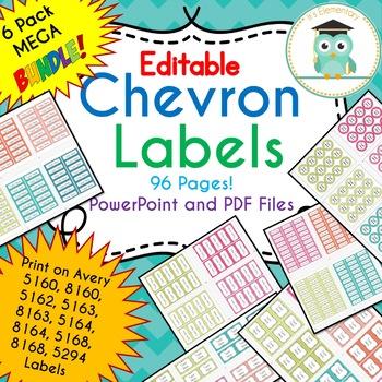 BUNDLE Chevron Labels Editable Classroom Notebook Folder Name Tags (PARTY)