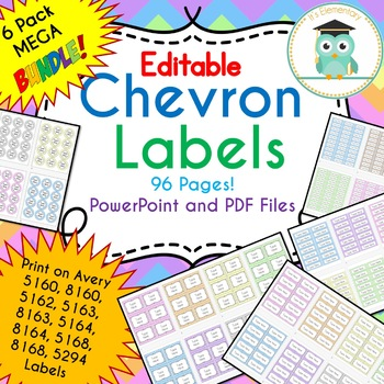 BUNDLE Chevron Labels Editable Classroom Notebook Folder Name Tags (PASTELS)