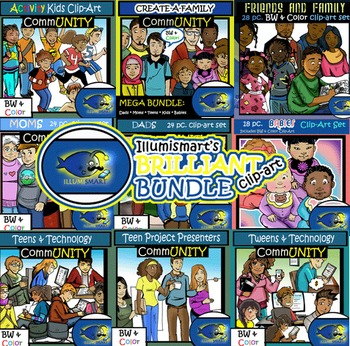 MEGA BUNDLE: CommUNITY School and Family 209 pc. Clip-Art Set (BW and Color)