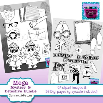 Cops, Robbers, Detectives and Mystery Clips and Digi Papers - BUNDLE