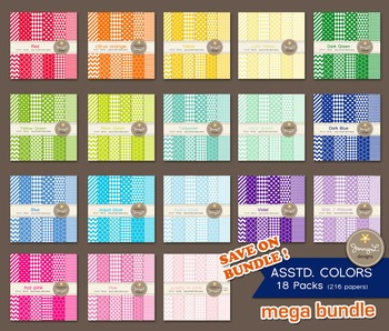 MEGA BUNDLE Digital Papers : Assorted Colors