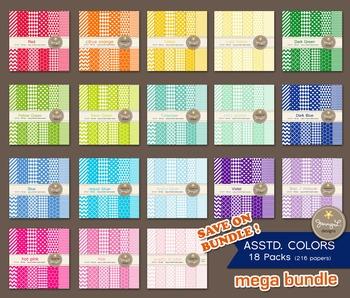 MEGA BUNDLE Digital Papers : Assorted Colors