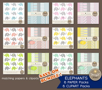 MEGA BUNDLE: Elephants Clipart and Matching Digital Papers in Assorted Colors