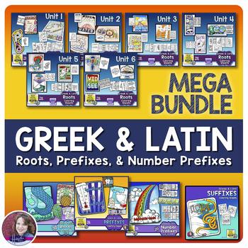 Greek and Latin Roots, Prefixes, and Number Prefixes Activities MEGA BUNDLE