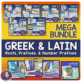 Greek and Latin Roots, Prefixes, and Number Prefixes Activities MEGA BUNDLE