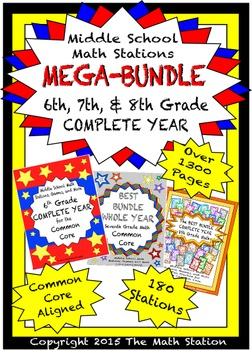 MEGA BUNDLE Middle School Math Stations - 6th, 7th, 8th COMPLETE YEARS