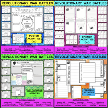 MEGA BUNDLE - REVOLUTIONARY WAR BATTLES 108 Activities