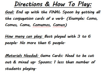 MEGA BUNDLE - SPANISH CONJUGATION SPOONS GAME (Present, Preterit, & Irregulars)