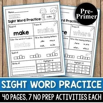 MEGA BUNDLE Sight Word Practice Kindergarten, Sight Words Worksheets First Grade