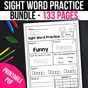 Free Kindergarten Sight Words Worksheets Teaching Resources Tpt - 33+ Printable Worksheets Kindergarten Sight Words Background