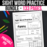 BUNDLE Kindergarten Sight Word Practice Worksheets Free bo