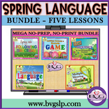 Spring Five Complete Language Literacy BUNDLE w/ BOOM CARDS - Teletherapy