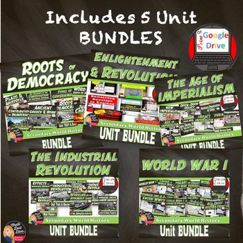 MEGA BUNDLE for World History (1st Semester Units 1-5) SAVE 25%