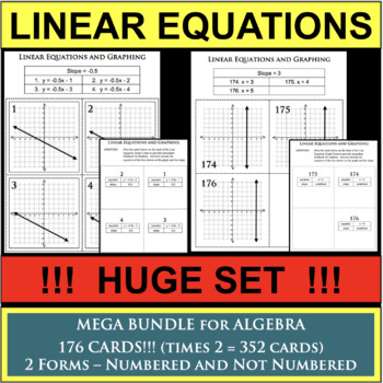 MEGA BUNDLE of 165 Linear Equation Task Cards Graphing Slo