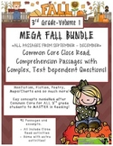 MEGA FALL BUNDLE 3rd -Common Core Close Read Passages Text Dependent Complex Qu.