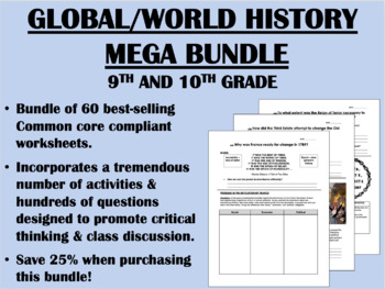 MEGA Bundle - 9th and 10th Grade Global/World History - Common Core