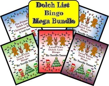 MEGA Bundle! Christmas Dolch Sight Word Bingo Set (Pre-primer - Third)