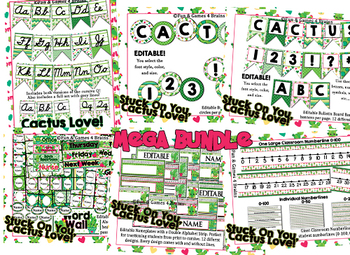 MEGA Cactus Themed Bundle- alpha banner, name plates, banner, number line