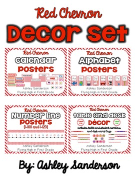 MEGA Chevron Decor Set {RED}
