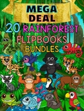 MEGA DEAL BUNDLE : 20 Rain Forest Animals Flip books : Research, Report