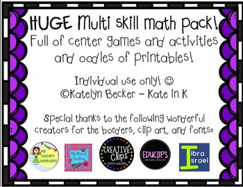 MEGA Kinder multi skill math pack!-counting-place value-nu