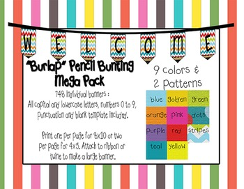 MEGA PACK Burlap Pencil Bunting