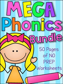 MEGA Phonics Printable Worksheet Bundle - Beginning, Middl
