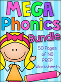 MEGA Phonics Printable Worksheet Bundle - Literacy Pre-K K