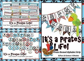 MEGA Pirate Themed Bundle- alpha strip, name plates, banners, number line