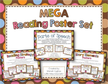MEGA Reading Posters Set - Multi-Colored Polka Dots on Chocolate Theme