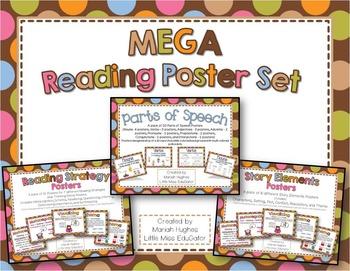 MEGA Reading Posters Set - Multi-Colored Polka Dots on Cho