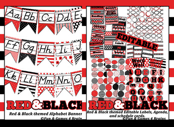 MEGA Red and Black Themed Bundle- alpha banner, name plates, banner, labels