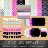 MEGA Seller's Toolkit Bundle #2 - Digital Paper, Frames, Ribbons, Bunting, Washi
