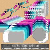 MEGA Seller's Toolkit - Digital Papers, Frames, Ribbons, Bunting, & Washi