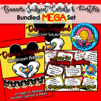 MEGA Set Disney Mickey Banner & Subject Schedule Cards, Calendar, & Posters
