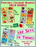 Printable Calendar Numbers - MEGA BUNDLE - 132 Sets - 14 Themes
