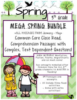 MEGA Spring BUNDLE 5th - Close Read Passages w/ Text Dependent Complex Quest.