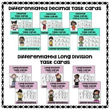 Math Task Card Bundle with Decimals, Fractions, Long Division, & Multiplication