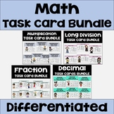 Math Task Card Bundle with Decimals, Fractions, Long Divis