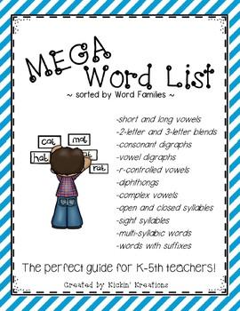 MEGA Word List for K-5th
