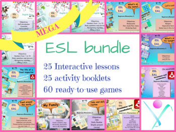 MEGA ready-to-use BUNDLE for ESL with interactive lessons, grammar and games
